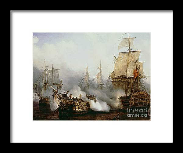 Battle Of Trafalgar By Louis Philippe Crepin Framed Print featuring the painting Battle of Trafalgar by Louis Philippe Crepin