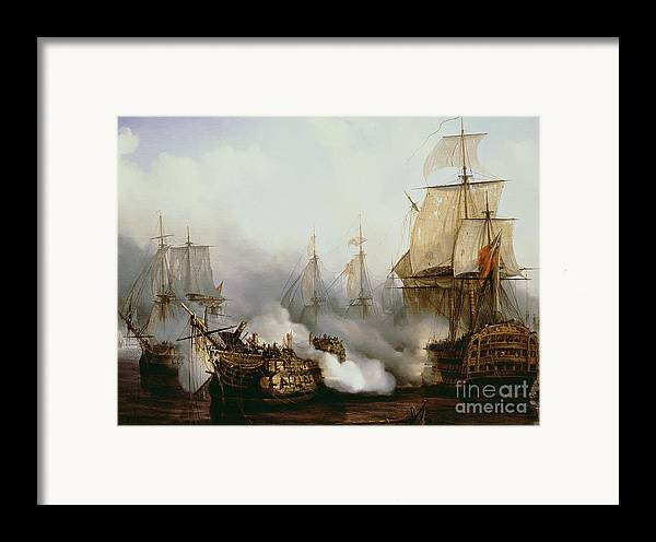 Battle Of Trafalgar (1805) (oil On Canvas) By Louis Philippe Crepin (1772-1851) Framed Print featuring the painting Battle Of Trafalgar by Louis Philippe Crepin