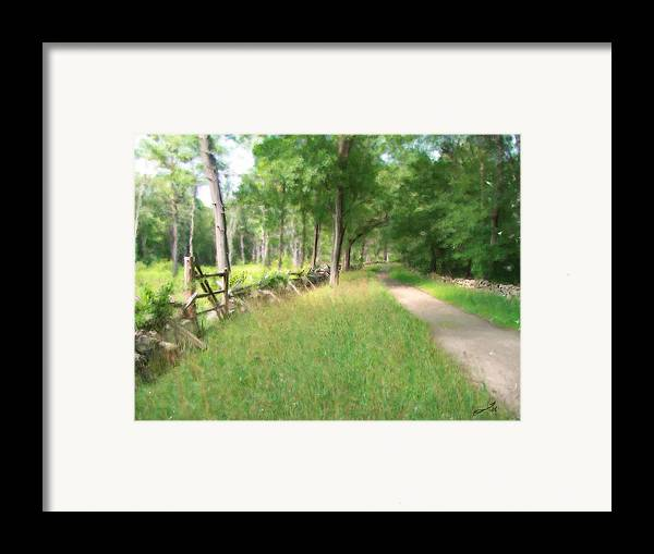 Concord American Revolution Bloody Angle British Colonists 1775 Stone Walls Rural New England Framed Print featuring the painting Battle Trail by Eddie Durrett