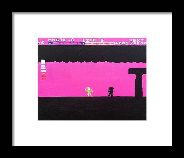 Dark Link Framed Print featuring the painting Battling Dark Link by Timothy Borkert