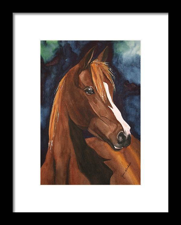 Horse Framed Print featuring the painting Bay On Blue 2 by Jean Blackmer