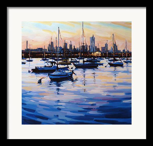 Seascape Framed Print featuring the digital art Bay View II by Shelby Keefe