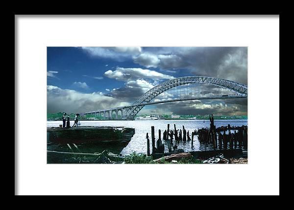 Seascape Framed Print featuring the photograph Bayonne Bridge by Steve Karol