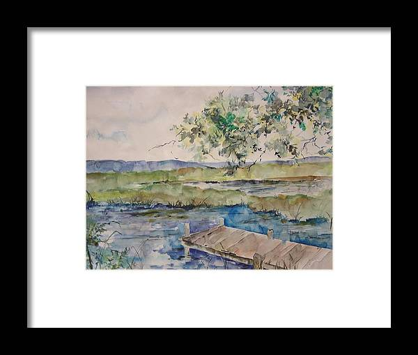Landscape Framed Print featuring the painting Bayou At Carr Drive by Robin Miller-Bookhout