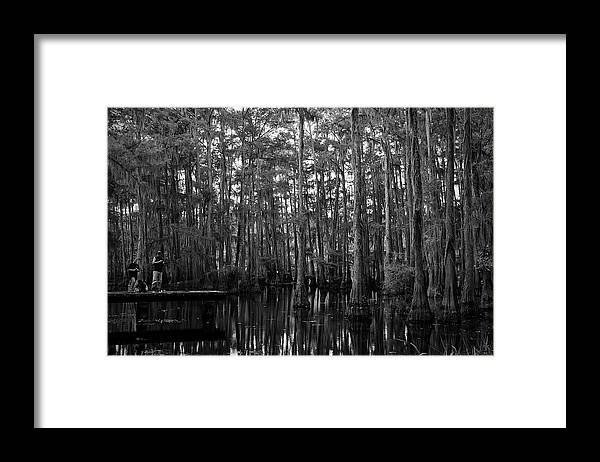 Swamps Framed Print featuring the photograph Bayou Family Fishing by Ester McGuire