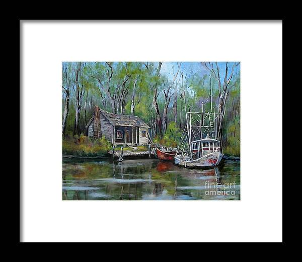 Louisiana Bayou Camp Framed Print featuring the painting Bayou Shrimper by Dianne Parks