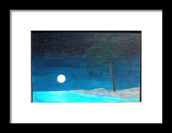 Landscape Framed Print featuring the painting Bayport Moon Rising by Paul O Shaskan