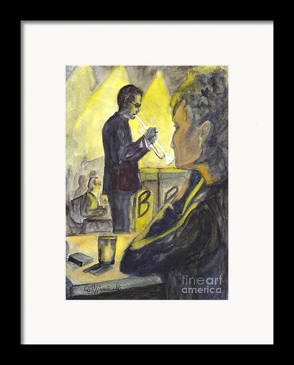 Jazz Framed Print featuring the painting Bb Jazz by Carol Wisniewski
