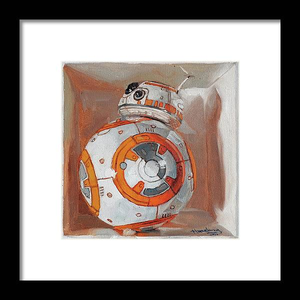In A Box Framed Print featuring the painting Bb8 In A Box by Haze Long
