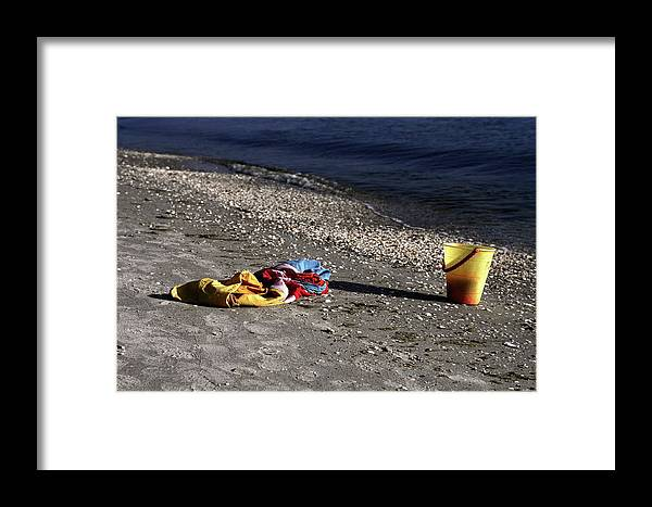 Sand Beach Framed Print featuring the photograph Be Right Back by Sally Weigand