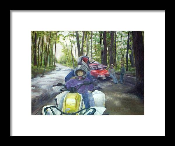 Quad Framed Print featuring the painting Be Right Back by Sheila Mashaw