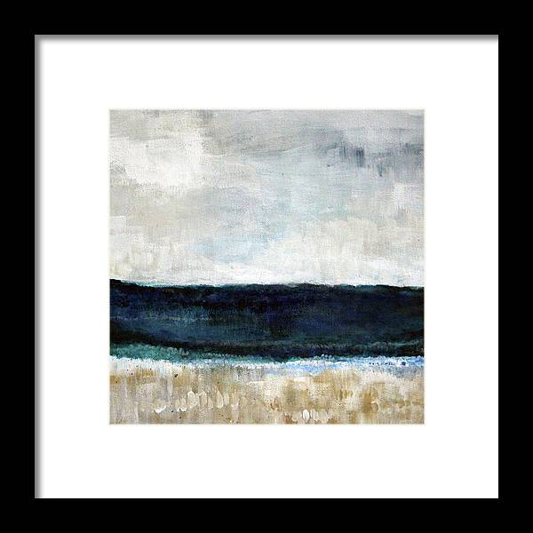 Beach Framed Print featuring the painting Beach- abstract painting by Linda Woods