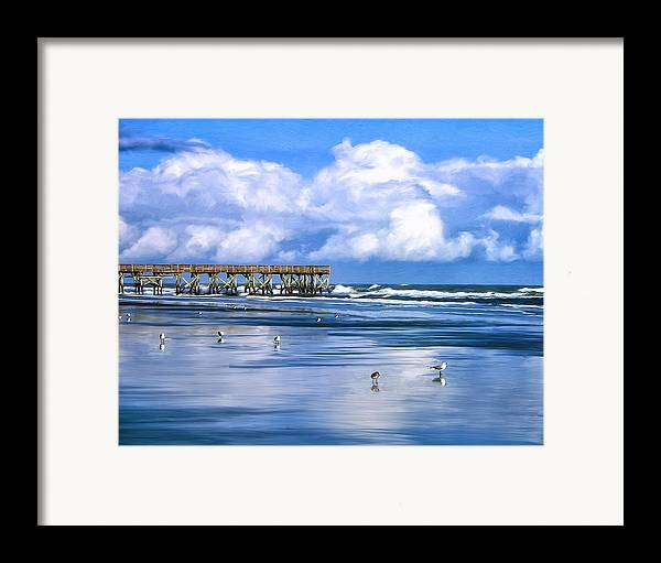 Isle Of Palms Framed Print featuring the painting Beach At Isle Of Palms by Dominic Piperata