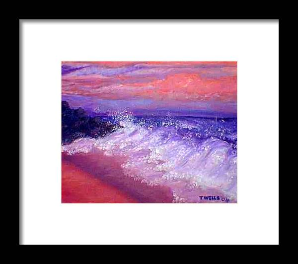 Beach Framed Print featuring the painting Beach At Sunrise by Tanna Lee M Wells