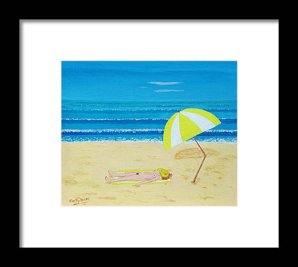 Nude Framed Print featuring the painting Beach Babe With All She Needs by Alex Mortensen