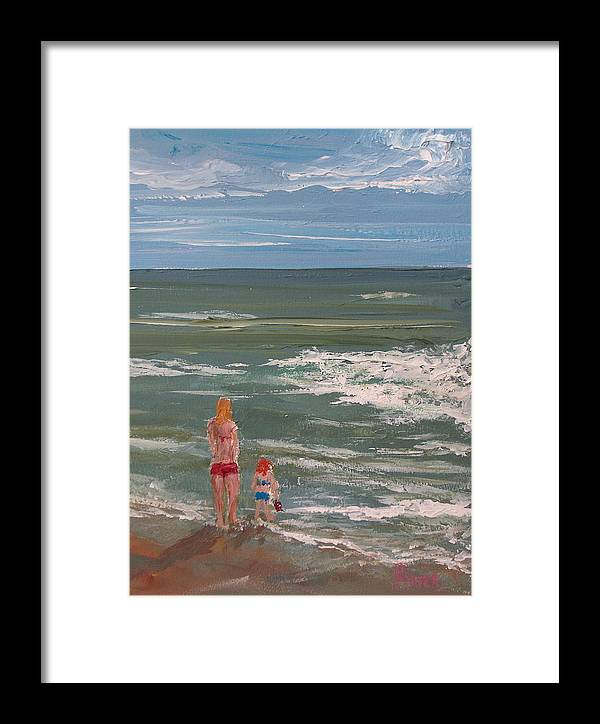 Seascape Framed Print featuring the painting Beach Babes by Pete Maier