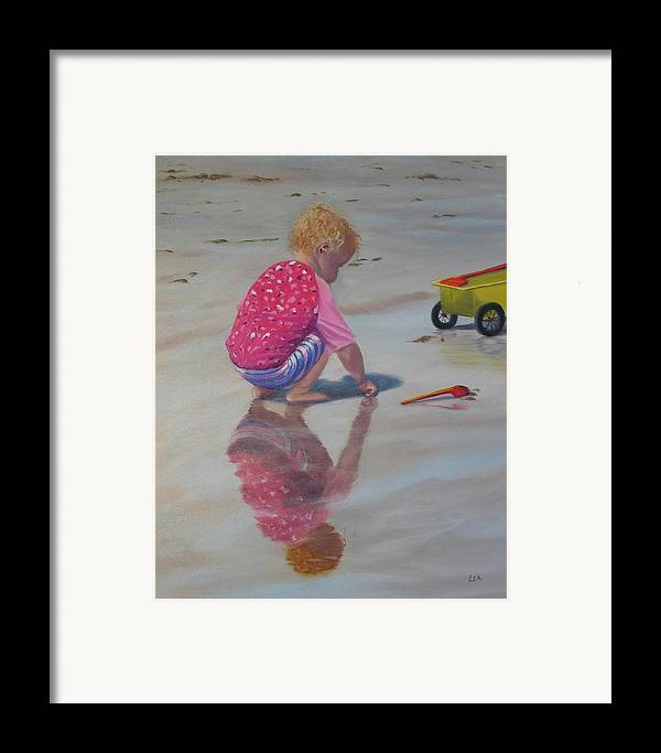 Baby Framed Print featuring the painting Beach Baby by Lea Novak