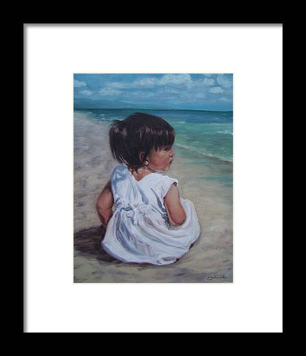 Children Framed Print featuring the painting Beach Baby by Tahirih Goffic