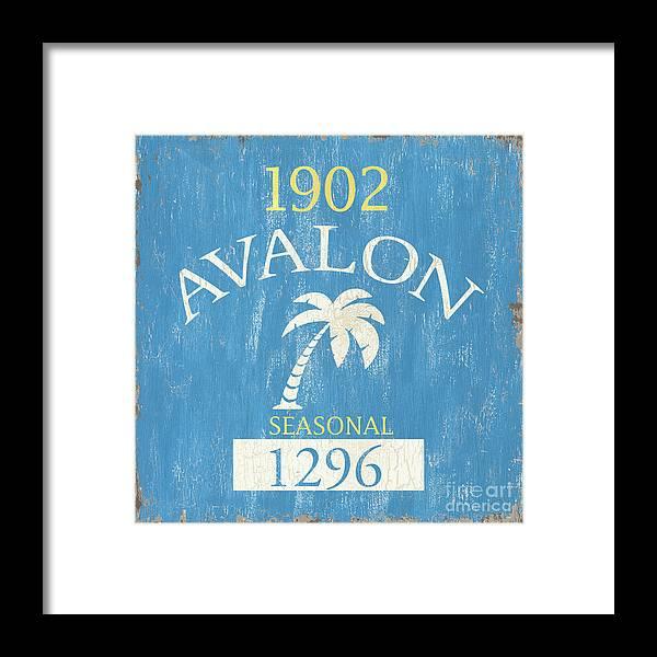 Beach Framed Print featuring the painting Beach Badge Avalon by Debbie DeWitt