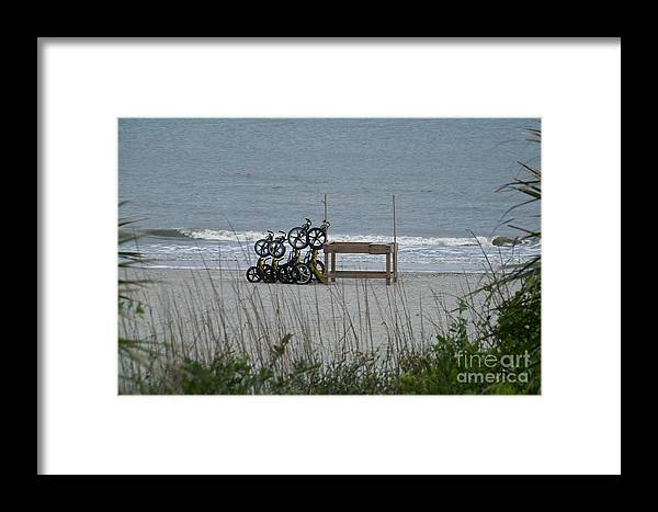Bicycle Framed Print featuring the photograph Beach Bicycles by Carol Bradley