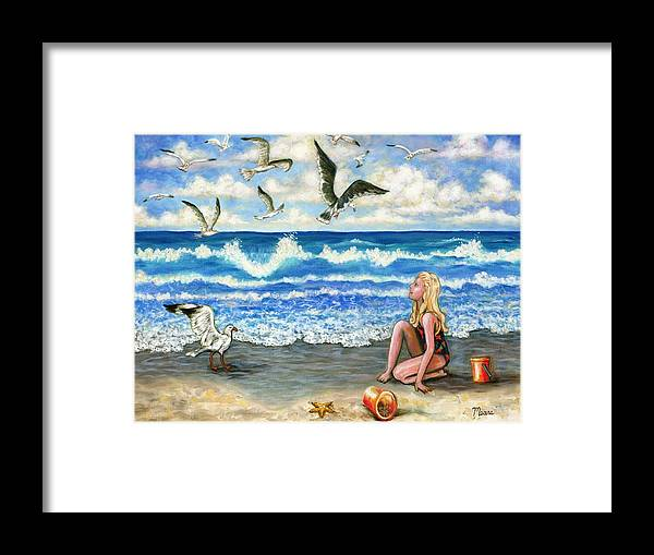 Beach Framed Print featuring the painting Beach Bliss by Linda Mears