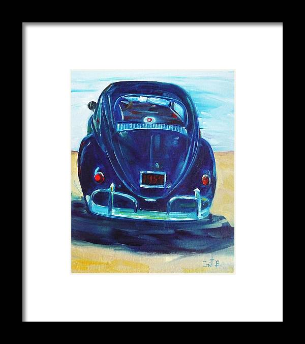 Car Framed Print featuring the painting Beach Bug by Irit Bourla