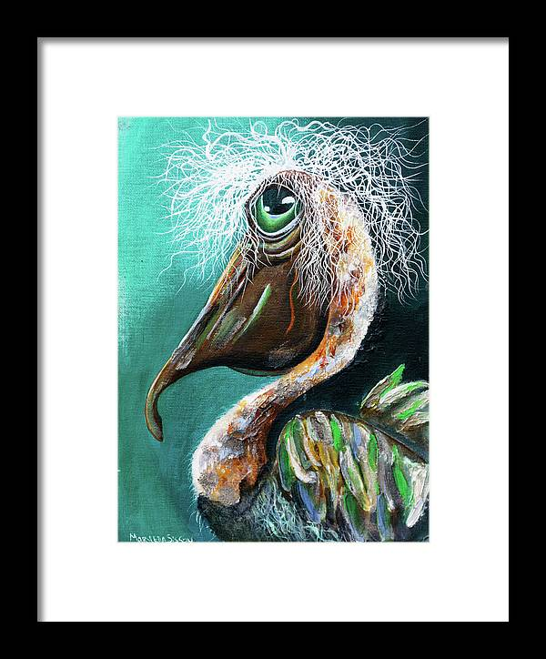 Pelican Framed Print featuring the painting Beach Bum by Mary Sisson