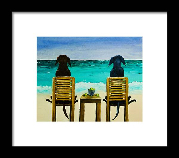 Labrador Retriever Framed Print featuring the painting Beach Bums by Roger Wedegis