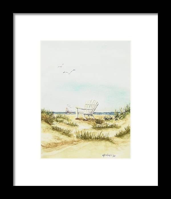Beach Chair Relaxing Chair Dune Framed Print featuring the painting Beach Chair by Miroslaw Chelchowski
