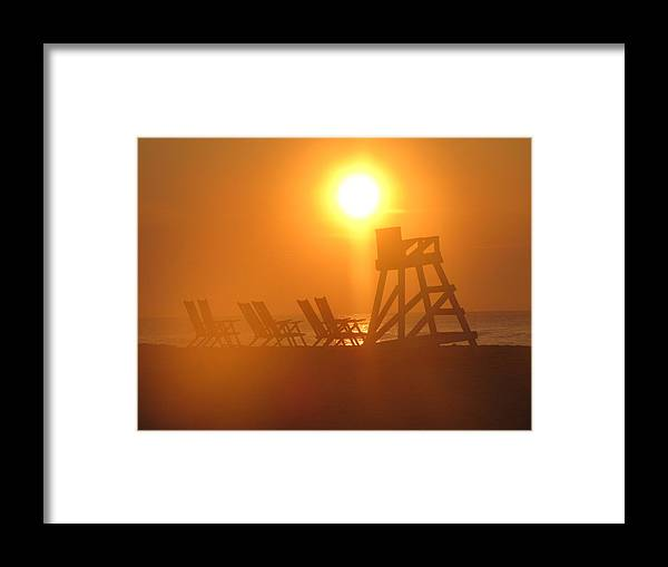 Sunrise Framed Print featuring the photograph Beach Chair Silhouette 3 by Shane Brumfield