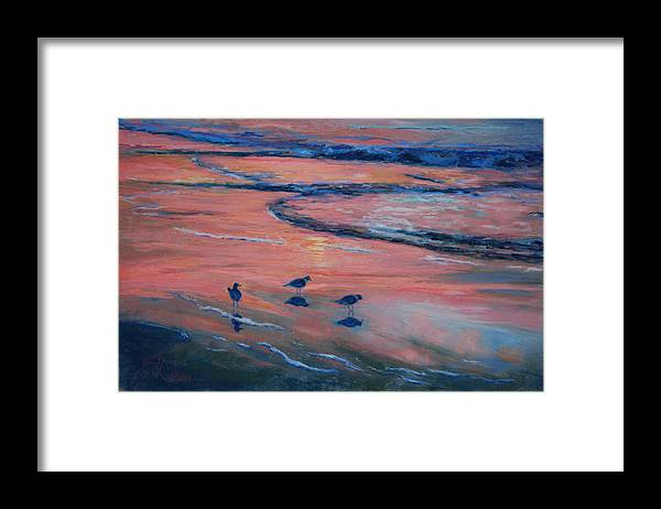 Beach Scenes Framed Print featuring the painting Beach Combers by Billie Colson