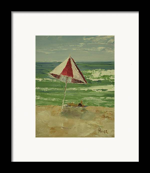 Seascape Framed Print featuring the painting Beach Day by Pete Maier