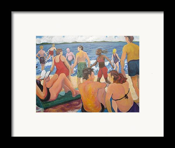 People Framed Print featuring the painting Beach Day by Rufus Norman