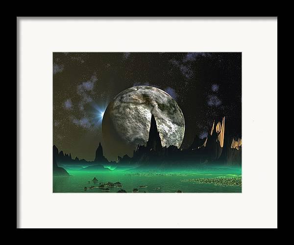 David Jackson Beach Eclipse Alien Landscape Planets Scifi Framed Print featuring the digital art Beach Eclipse by David Jackson