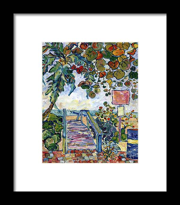 Beach Entrance Framed Print featuring the painting Beach Entrance 3rd Avenue South Olde Naples by Popo Flanigan