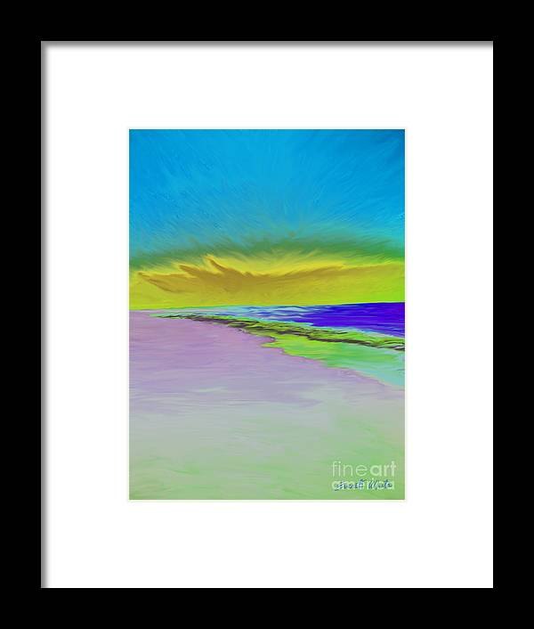 Landscape Framed Print featuring the painting Beach by Everett White