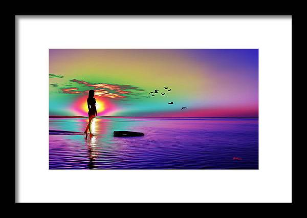 Water Framed Print featuring the digital art Beach Girl 3 by Gregory Murray