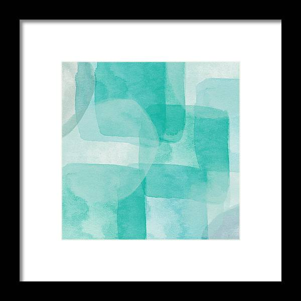 Abstract Framed Print featuring the painting Beach Glass- Abstract Art by Linda Woods by Linda Woods