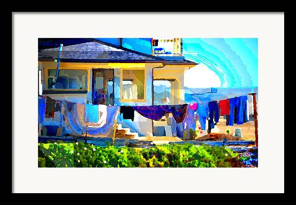 Framed Print featuring the digital art Beach House by Danielle Stephenson