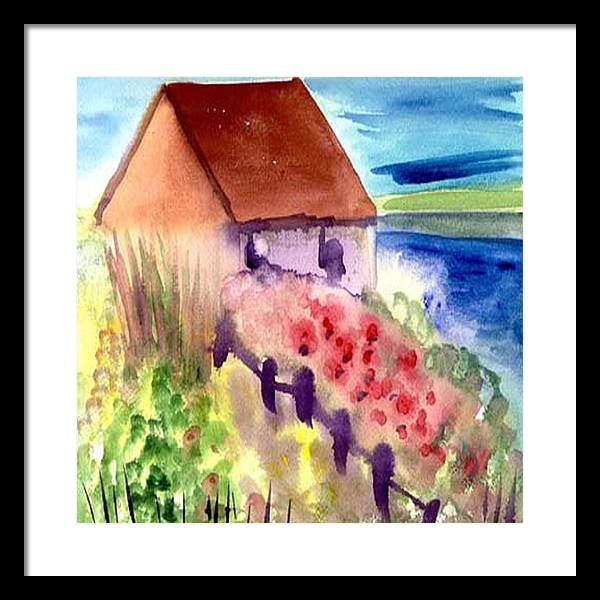 Beach Framed Print featuring the painting Beach House by Janet Doggett