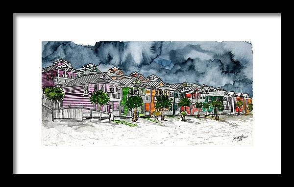 Watercolor Framed Print featuring the painting Beach Houses Watercolor Painting by Derek Mccrea
