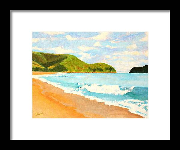 Beach Framed Print featuring the painting Beach In Brazil by Flavia Lundgren