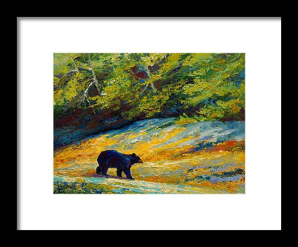 Bear Framed Print featuring the painting Beach Lunch - Black Bear by Marion Rose