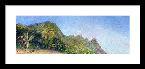 Rainbow Colors Pastel Framed Print featuring the painting Beach Palms by Kenneth Grzesik