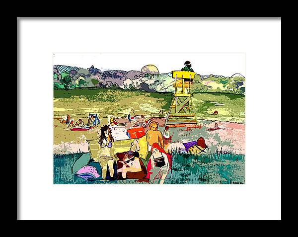 Beach Framed Print featuring the painting Beach Party by Mindy Newman