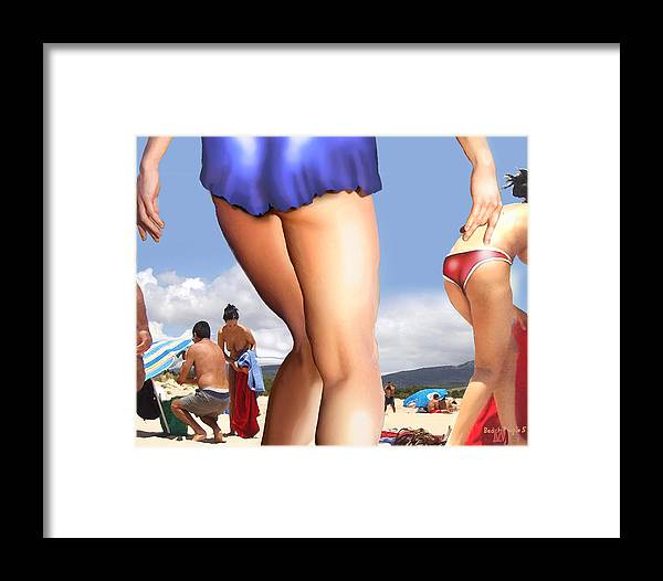 People Arranged In A Beach Setting Framed Print featuring the digital art Beach People Number Five by Leo Malboeuf