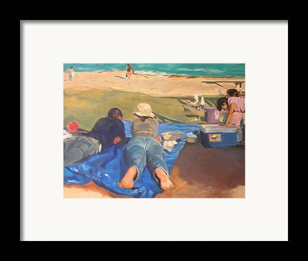 Beach Framed Print featuring the painting Beach Picnic by Merle Keller