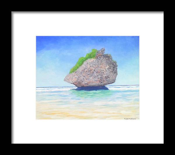 Beach Framed Print featuring the painting Beach Rock by Paul O Shaskan