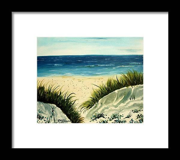Beach Framed Print featuring the painting Beach Sand Dunes Acrylic Painting by Derek Mccrea