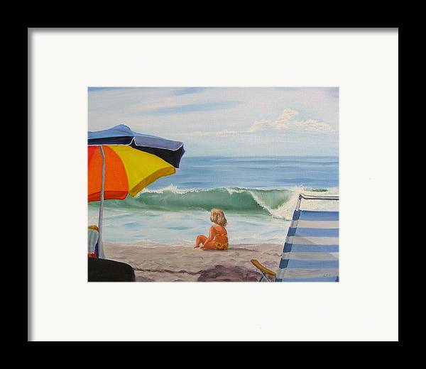 Seascape Framed Print featuring the painting Beach Scene - Childhood by Lea Novak